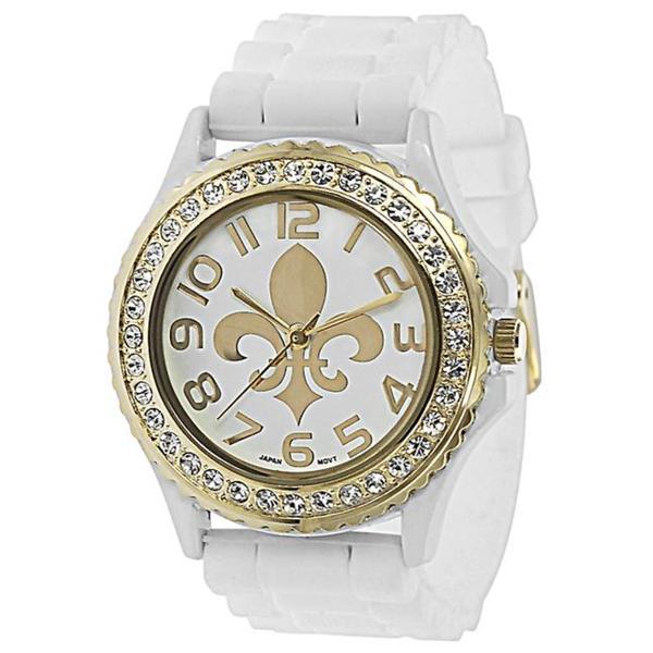 Geneva Platinum Women's Rhinestone Fleur De Lis White Silicone Watch