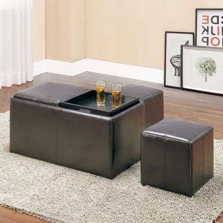 TRIBECCA HOME Landon Dark Brown Bi-cast Leather Storage Bench