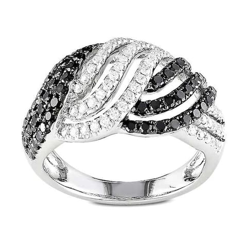Miadora Signature Collection 14k Gold 1ct TDW Black and White Woven Diamond Ring