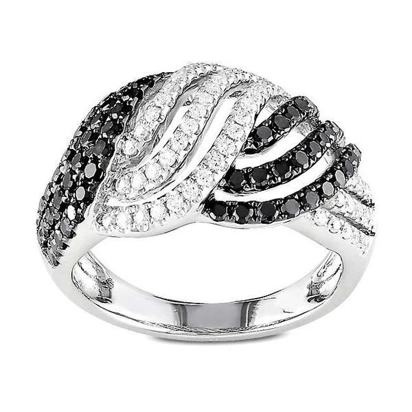Miadora Signature Collection 14k Gold 1ct TDW Black and White Woven Diamond Ring