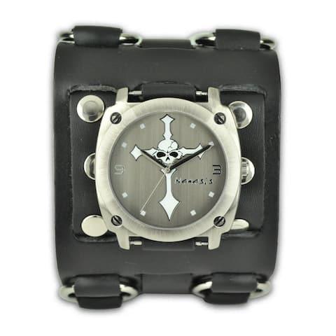 Nemesis Men's Punk Rock Wide Cross Skull Leather Watch