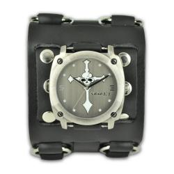Nemesis Men's Punk Rock Wide Cross Skull Leather Watch