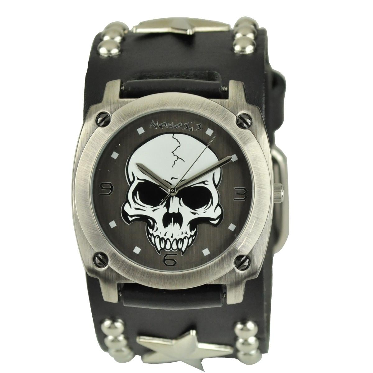 Overstock mens leather gloves - Nemesis Men S Punk Rock Star Skull Leather Band Watch