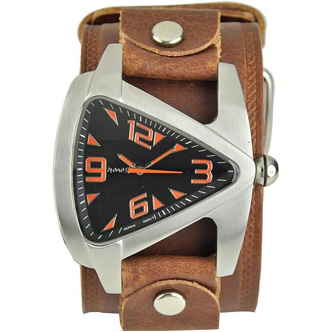 Nemesis Men's Orange Triangle Leather Band Watch
