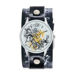 Nemesis Women's Classic Yellow Plant Art Leather Cuff Band Watch