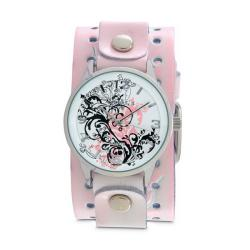 Nemesis Women's Classic Pink Plant Art Leather Cuff Band Watch