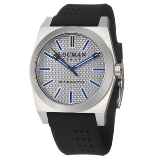 Locman Men's 'Sport' Stainless Steel and Black Rubber Quartz Date Watch with Blue Markers