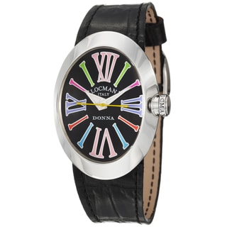Locman Women's 'Glamour' Black-Dial Stainless-Steel and Leather Quartz Watch