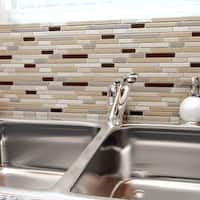 SomerTile 11.625x11.75-inch Reflections Piano York Glass and Stone Mosaic Wall Tile (5 tiles/4.75 sqft.)