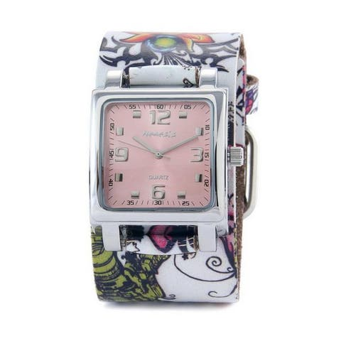Nemesis Women's Punk Rock Floral Design Leather Cuff Band Watch