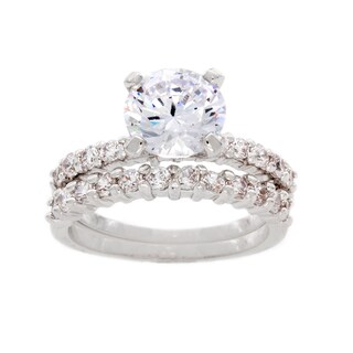 NEXTE Jewelry Silvertone High-polish Round-cut Solitaire Cubic Zirconia Bridal Set (More options available)