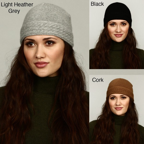 dfc4d964 Shop Portolano Women's Cashmere Cable Cuff Hat - Free Shipping On ...