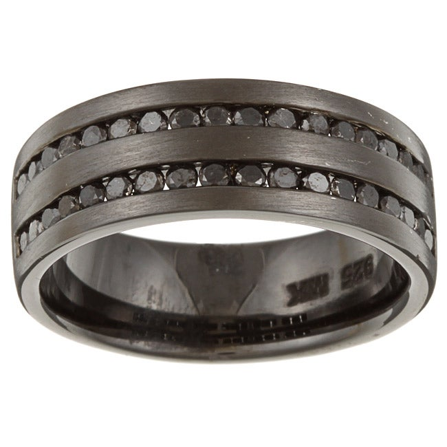 Victoria Kay Black Sterling Silver Men s 1ct TDW Black Diamond Ring Fre