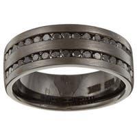 Victoria Kay Black Sterling Silver Men's 1ct TDW Black Diamond Ring