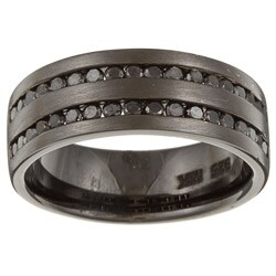 Victoria Kay Black Sterling Silver Men's 1ct TDW Black Diamond Ring