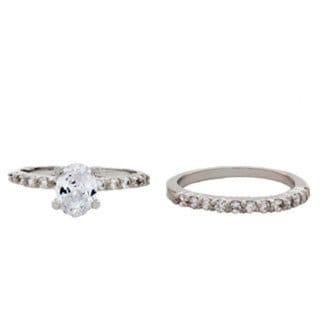 NEXTE Jewelry Silvertone Oval-cut Cubic Zirconia Bridal Set