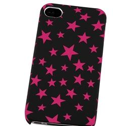 Slim Fit Rubber-Coated Pink Star Case for Apple iPhone 4