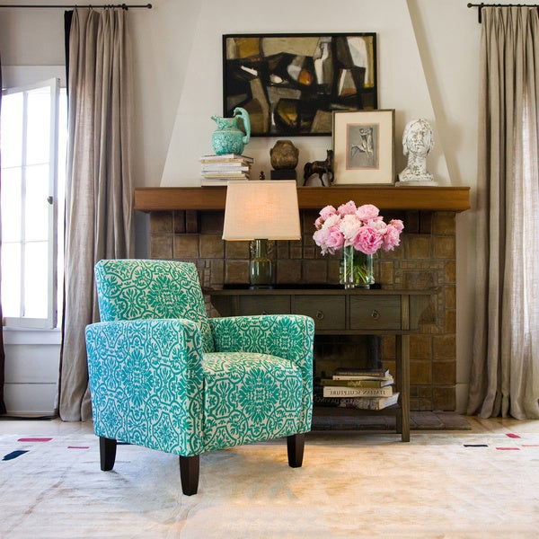 Handy Living Sutton Modern Damask Turquoise Blue Arm Chair