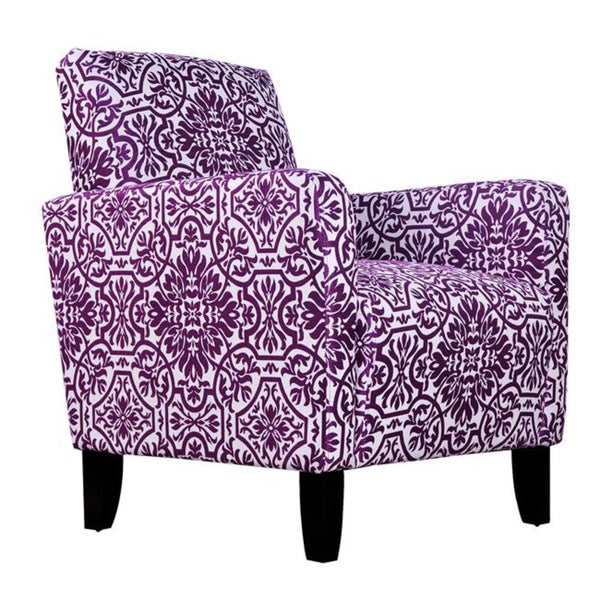 Handy Living Sutton Modern Damask Provence Purple Arm Chair