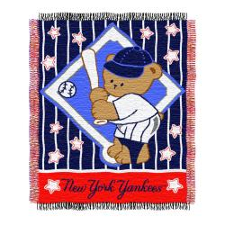 Northwest New York Yankees Woven Jacquard Acrylic Baby Blanket with Decorative Fringe Edging