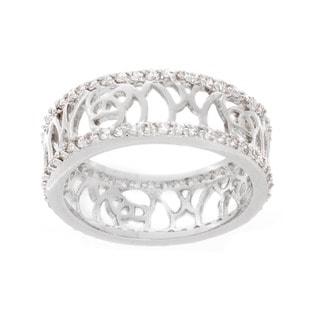NEXTE Jewelry Silvertone Cubic Zirconia Filigree Band
