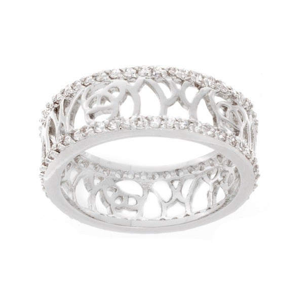 NEXTE Jewelry Silvertone Cubic Zirconia Filigree Band