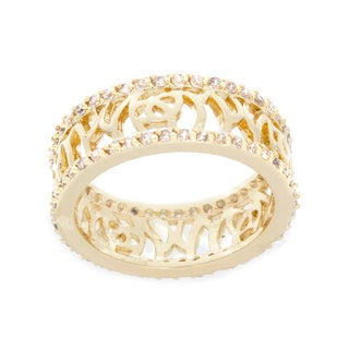 NEXTE Jewelry Goldtone Cubic Zirconia Filigree Band