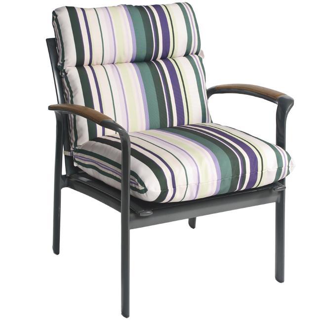 Pia Stripe Outdoor Purple Patio Club Chair Cushion Free