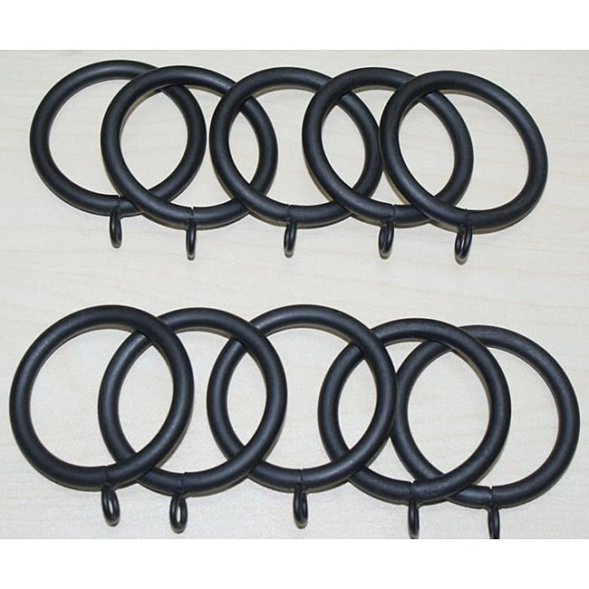 Steel 1.25-inch Flat Black Curtain Rings (Set of 10)