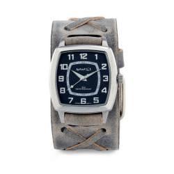 Nemesis Men's Classic Vintage Charcoal X Leather Cuff Band Quartz Watch