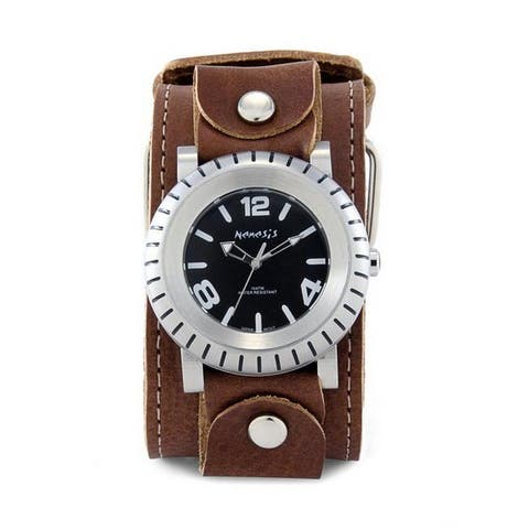 Nemesis Men's Signature Brown Wheel Men Leather Band Watch