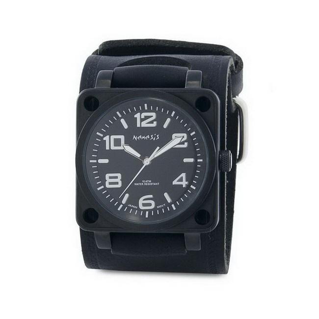 Nemesis Men's Signature Silver SQ Drive Leather Cuff Band Watch