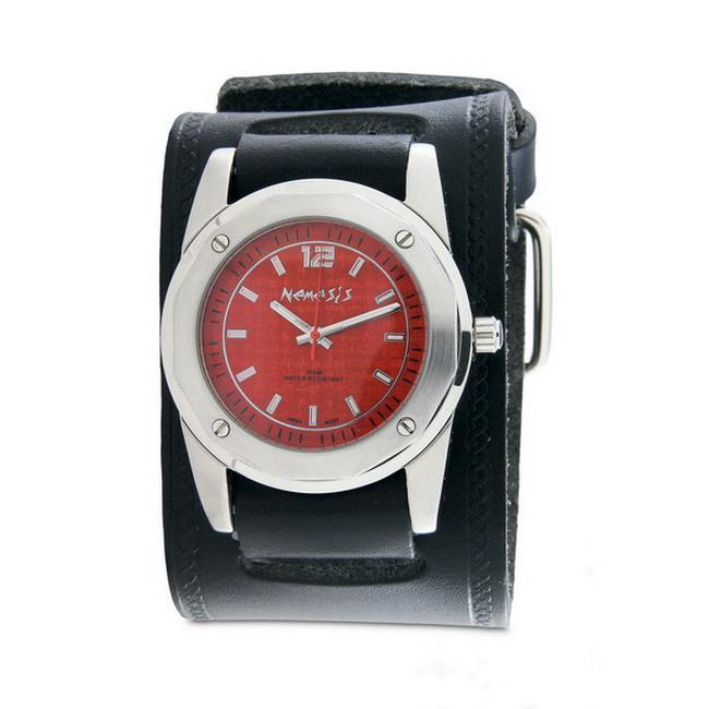 Nemesis Men's Elegant Red Carbon Fiber Face Leather Band Watch