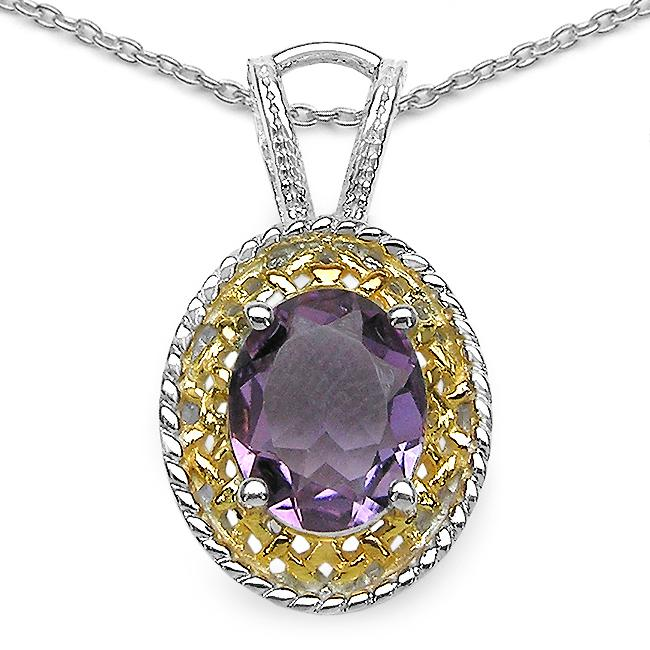 Malaika Sterling Silver Genuine Amethyst Necklace