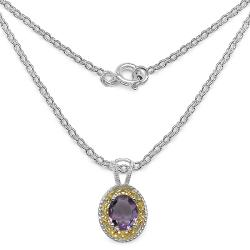 Malaika Sterling Silver Genuine Amethyst Necklace - Thumbnail 1