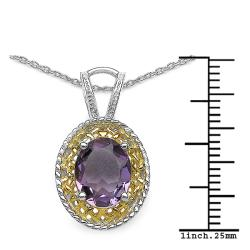 Malaika Sterling Silver Genuine Amethyst Necklace - Thumbnail 2