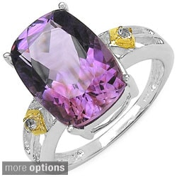 Malaika Sterling Silver Cushion-cut Gemstone and White Topaz Fashion Ring