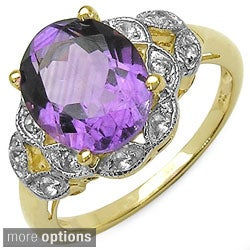 Malaika 14k Gold over Sterling Silver Oval-cut Gemstone and White Topaz Ring
