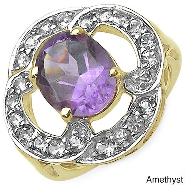 Malaika 14k Gold over Sterling Silver Gemstone and White Topaz Ring
