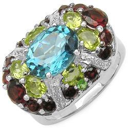 Malaika Sterling Silver Blue Topaz, Peridot, Garnet and Tsavorite Ring