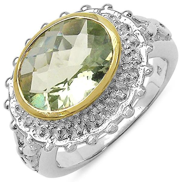 Malaika Sterling Silver Green Amethyst and White Topaz Ring