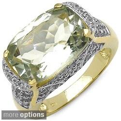 Malaika Sterling Silver Green Amethyst or Smokey Quartz Two-tone Ring
