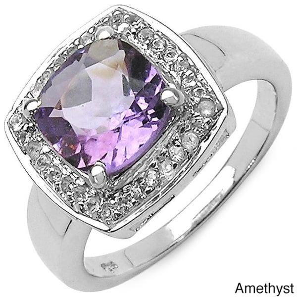 Malaika Sterling Silver Cushion-cut Gemstone and White Topaz Ring