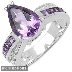 Malaika Sterling Silver Pear-cut Amethyst or Blue Topaz and White Topaz Ring