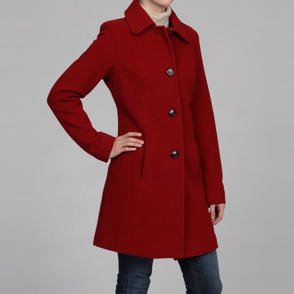Anne Klein Women's Bright Red Wool Coat FINAL SALE - Free Shipping ...