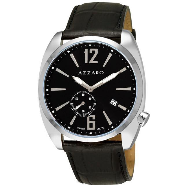 Azzaro Men's 'Seventies' Black Leather Strap Small Second Watch
