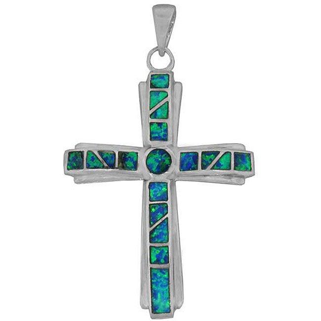 Silver Created Opal Cross Pendant