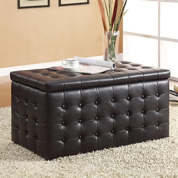 TRIBECCA HOME Mason Dark Brown Storage Bench and Two Cube