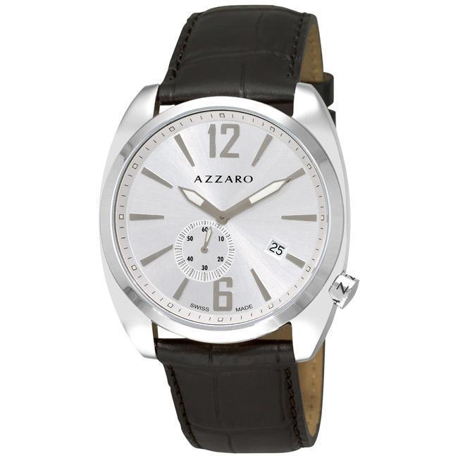 Azzaro Men's 'Seventies' Silver Dial Black Leather Strap Watch