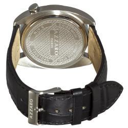 Azzaro Men's 'Seventies' Silver Dial Black Leather Strap Watch - Thumbnail 1